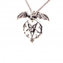 Přívěsek  stříbrný  - Pentagram netopýří