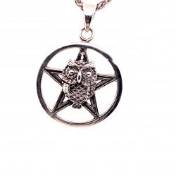 Přívěsek  stříbrný  - Sovička pentagram