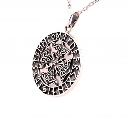Přívěsek  stříbrný  - Keltský kříž runy