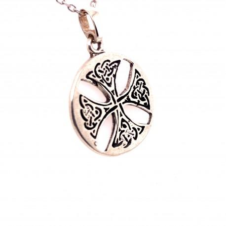 Přívěsek  stříbrný  - Keltský kulatý kříž