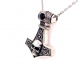 Přívěsek  stříbrný  - Thorovo kladivo lebka s onyxem