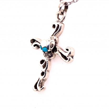 Přívěsek  stříbrný  - Kříž lebka