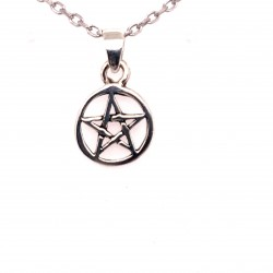 Přívěsek  stříbrný  - Pentagram v kruhu malý