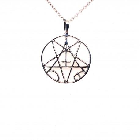 Přívěsek  stříbrný  - Pentagram s obráceným křížem