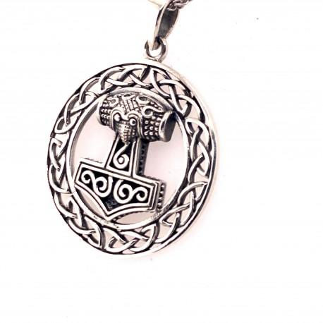 Přívěsek  stříbrný  - Thorovo kladivo v kruhu s ornamentem