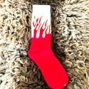 Moto ponožky - bílo červené plameny