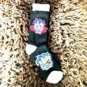 Moto ponožky - bílo černé - plamínci