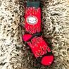 Moto ponožky - černo červené - plameny - lebka
