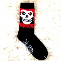 Moto ponožky - černo červené - lebka