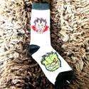 Moto ponožky - bílo černé - plamínci zelenkavý