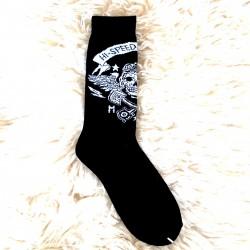 Moto ponožky - černé - lebka písty