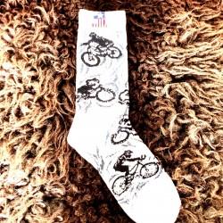 Moto ponožky - bílé- motorka 1