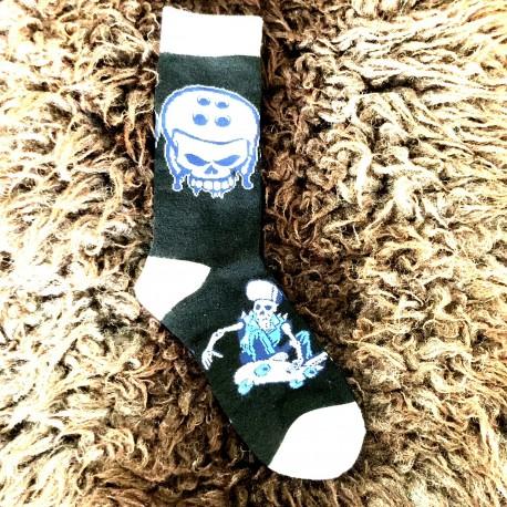 Moto ponožky - bílo černé - lebka skate