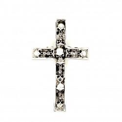 Přívěsek  stříbrný  - Kříž s lebkami