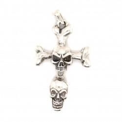 Přívěsek  stříbrný  - Lebky kříž pohyblivý