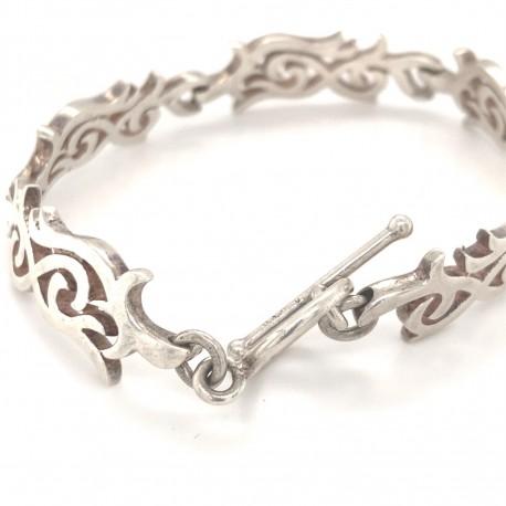 Náramek  stříbrný  - Ornament prořezávaný