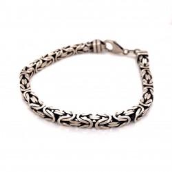 Náramek  stříbrný  - Královský vzor hranatý