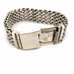 Náramek  stříbrný  - Plochý pletený 2