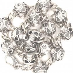 Náhrdelník stříbrný - lebky alchemy