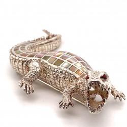Krokodyl -  brož s perletí ručně vkládanou