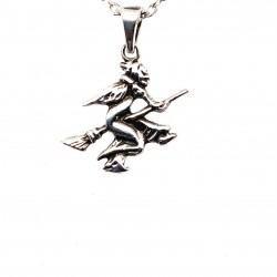 Přívěsek  stříbrný  - Čarodějnice na koštěti malá