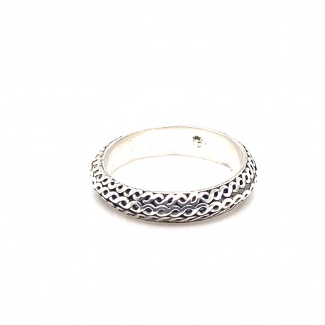 Prsten stříbrný -  Kruh hadí kůže