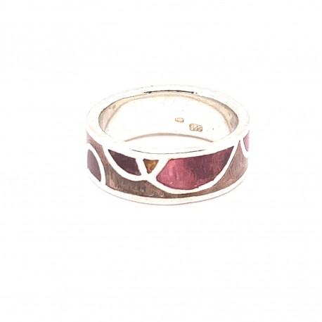 Prsten stříbrný -  Kruh mozaika smalt