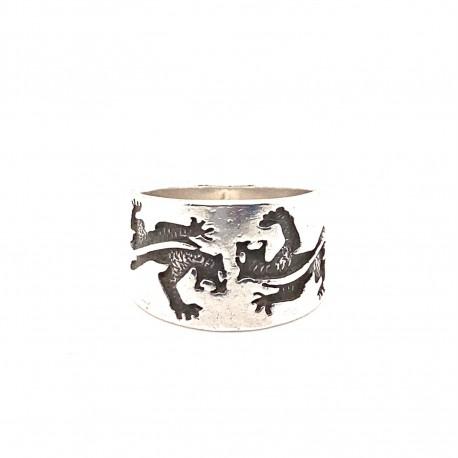 Prsten stříbrný - Kruh ještěrky široký