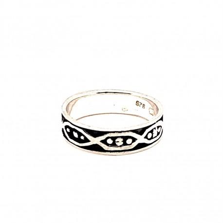 Prsten stříbrný -  Kruh tři tečky