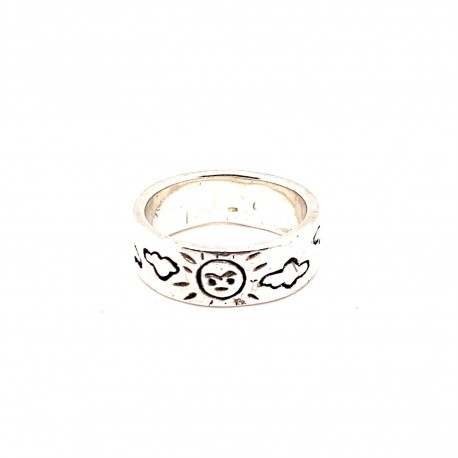 Prsten stříbrný -  Kruh slunce obláčky
