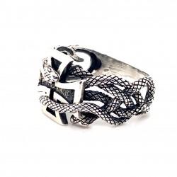Prsten stříbrný -  Kříž propletený had