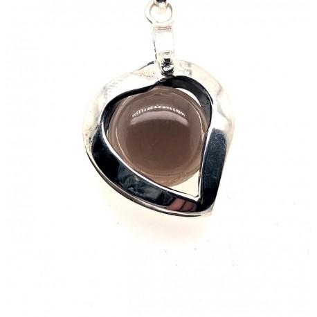 Přívěsek  stříbrný  - Srdce kouřový křišťál