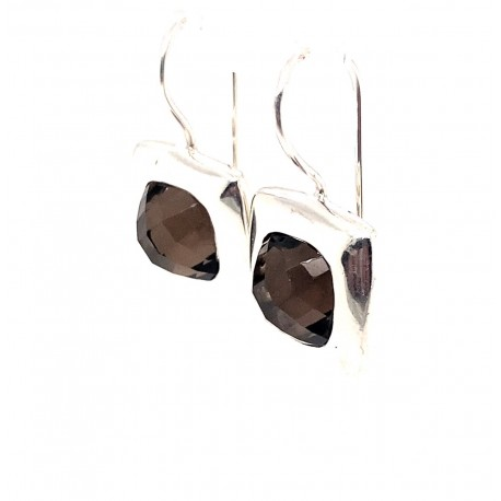 Náušnice stříbrné - Kouřový křišťál broušený