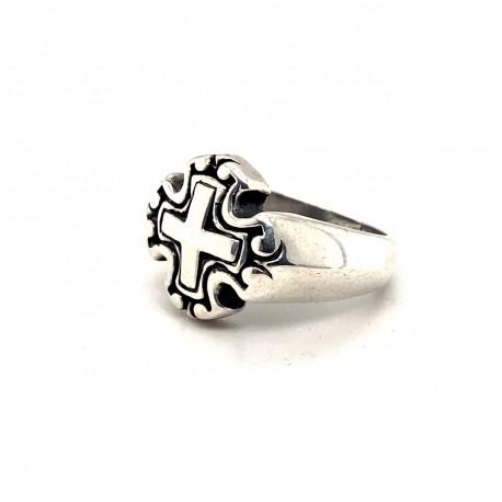 Prsten stříbrný - Kříž zdobný