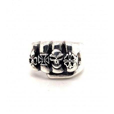 Prsten stříbrný - Pěst  s prsteny