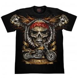 T Shirts S - Lebka písty moto