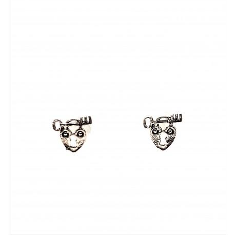 Náušnice stříbrné - srdce s klíčem