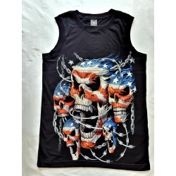 Tričko bez rukávu - Lebky US Vlajka