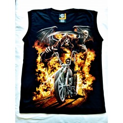 Tričko bez rukávu - Plameny smrtka biker
