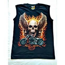 Tričko bez rukávu - Lebka křídla plameny motorka