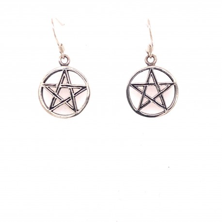 Náušnice stříbrné - Pentagram