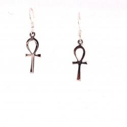 Náušnice stříbrné  - Kříž Anch