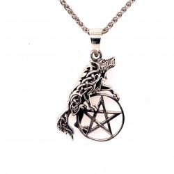 Přívěsek  stříbrný  - Vlk keltský pentagram