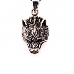 Přívěsek  stříbrný  - Vlk hlava visící