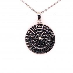 Přívěsek  stříbrný  - Keltský zodiak -černé slunce