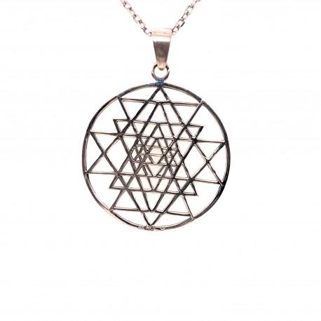 Přívěsek  stříbrný  - Shri Yantra Hexa