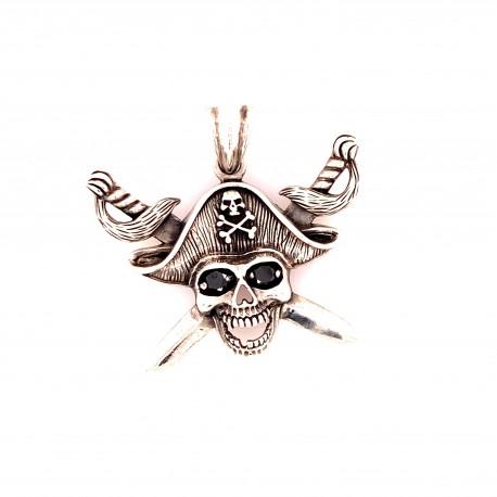 Přívěsek  stříbrný  - Pirátská lebka kulatá s šavlemi