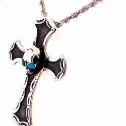 Přívěsek  stříbrný  - Kříž s lebkou tyrkysové oči