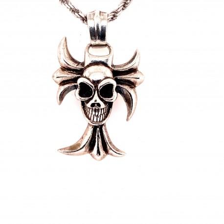 Přívěsek  stříbrný  - Kříž lebka ornament
