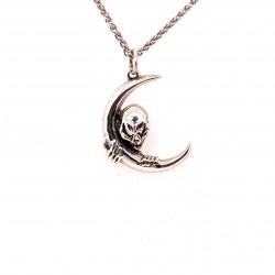 Přívěsek  stříbrný  - Lebka měsíc